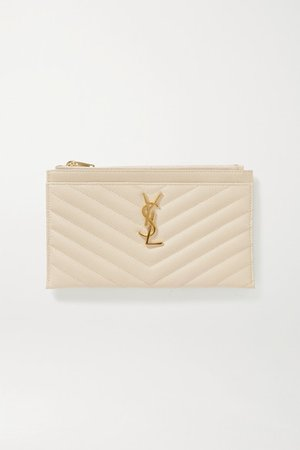 Monogram Quilted Textured-leather Pouch - Off-white