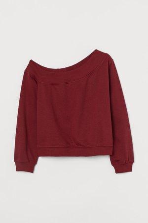 One-shoulder Sweatshirt - Red