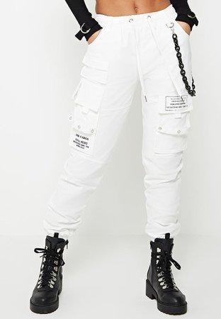 Chain Detail Cargo Pants - White   Manière De Voir (UK)