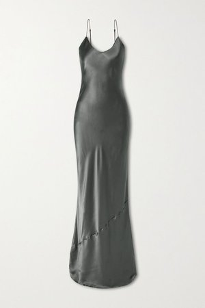 Dark gray Silk-satin gown | Nili Lotan | NET-A-PORTER