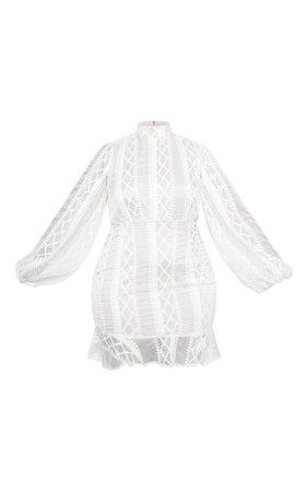 White Lace Puff Sleeve Frill Hem Bodycon Dress | PrettyLittleThing USA