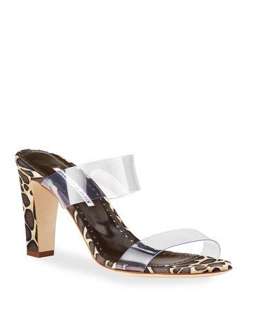 Manolo Blahnik Scolto Leopard-Print and PVC Slide Sandals | Neiman Marcus
