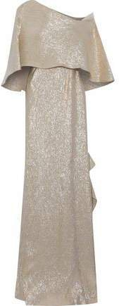 One-shoulder Cape-effect Ruffled Lame Gown