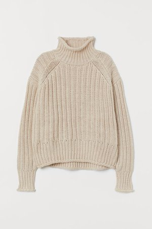 Rib-knit Turtleneck Sweater - Light beige - Ladies | H&M US