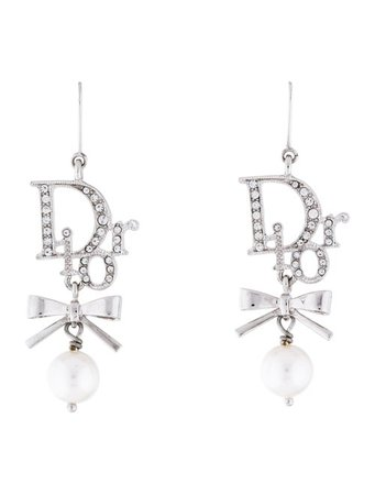 Christian Dior Crystal Bow Drop Earrings - Earrings - CHR93283 | The RealReal