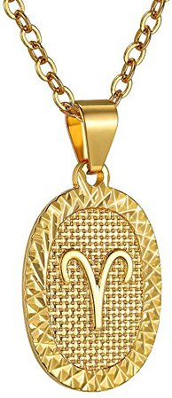 "GOLDCHIC JEWELRY Aquarius Necklace, Astrology Necklace, Horoscope Necklace, Zodiac Charm Necklace, Gold Necklaces for Women Men, with Adjustable Chain 20""+2"" 