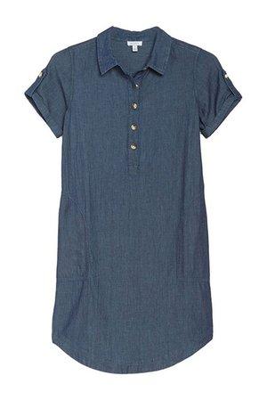 SUSINA | Short Sleeve Chambray Shirt Dress | Nordstrom Rack