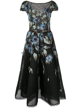 Marchesa, Floral Flared Dress