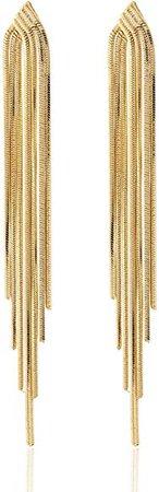 Amazon.com: Long Drop Sleek Chain Tassel Earrings by Lovey Lovey (Gold): Jewelry
