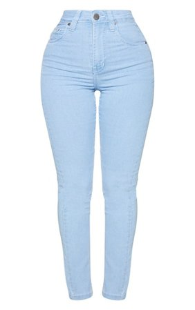 Shape Light Blue High Waist Straight Leg Jeans | PrettyLittleThing
