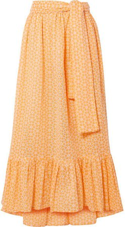Nicole Broderie Anglaise Cotton Maxi Skirt - Pastel orange
