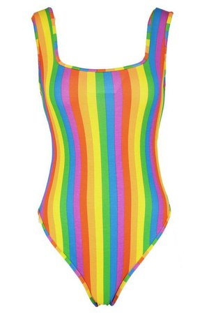 Rainbow Square Neck Bodysuit | Boohoo