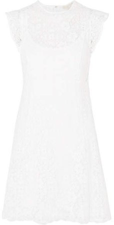 Crocheted Lace Mini Dress - White