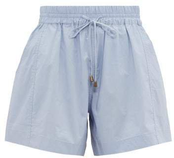 Trail A Line Cotton Shorts - Womens - Light Blue