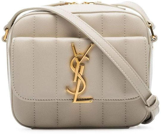 cream Vicky mini leather camera bag