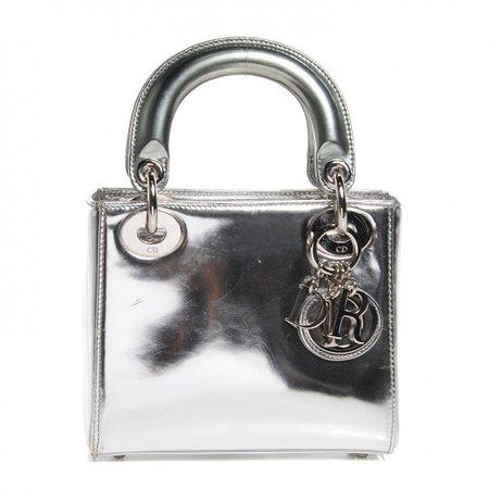 CHRISTIAN DIOR Metallic Calfskin Mini Lady Dior Silver 99707
