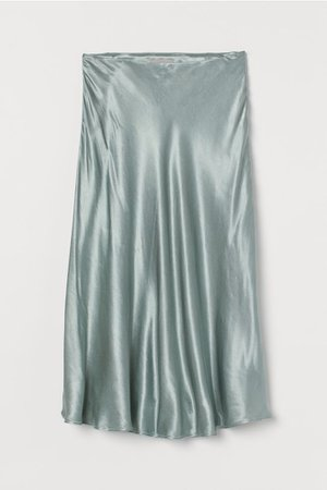 Calf-length Satin Skirt - Light green - Ladies | H&M US