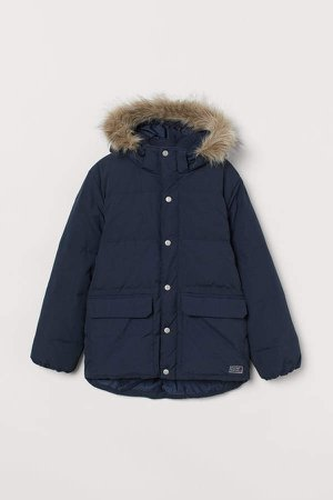 Hooded Down Jacket - Blue