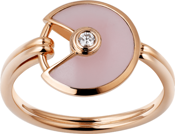CRB4213400 - Amulette de Cartier ring, XS model - Pink gold, pink opal, diamond - Cartier