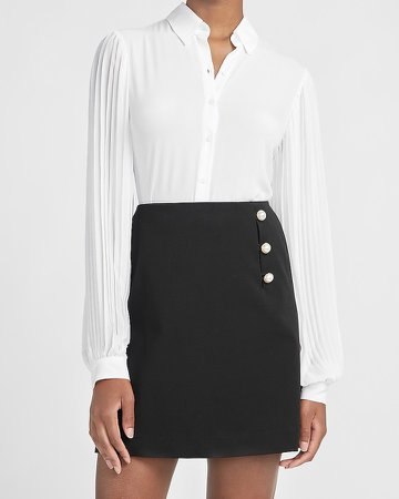 High Waisted Pearl Button A-Line Mini Skirt