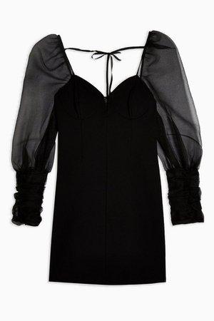 Black Organza Bodycon Mini Dress | Topshop