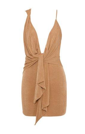 Clothing : Structured Dresses : 'Kiki' Tan Drape Mini Dress