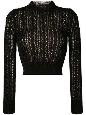 Alexa Chung Ruffled Neck Knitted Top - Farfetch