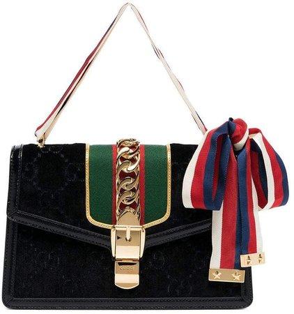 Sylvie chain-embellished velvet shoulder bag