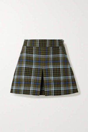Spencer Pleated Checked Woven Shorts - Army green