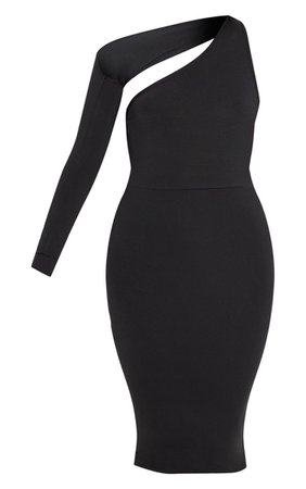 Black Disco Slinky One Shoulder Midi Dress   PrettyLittleThing USA