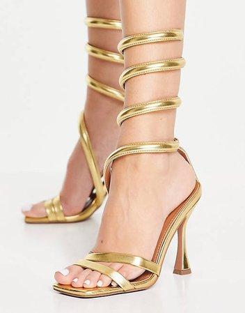 ASOS DESIGN Neo ankle detail high heel sandals in gold | ASOS