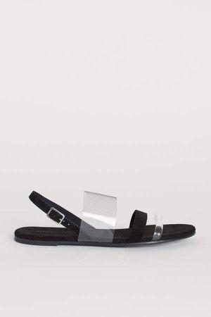 Sandals with Vinyl Straps - Black