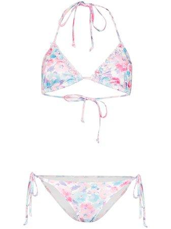 LoveShackFancy Harbour triangle top floral bikini - FARFETCH