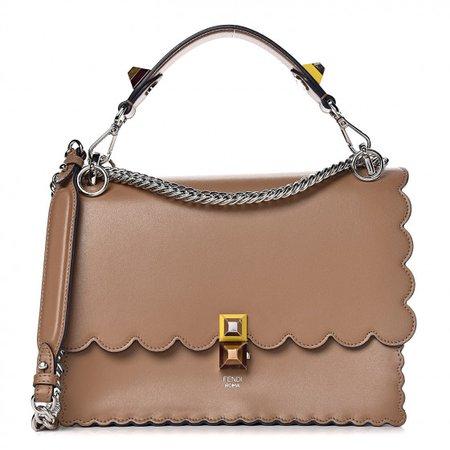 FENDI Calfskin Studded Kan I Shoulder Bag Tan 473866