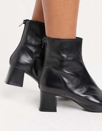 Mango leather mid heel boots in black | ASOS