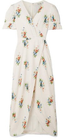 Magdalena Wrap-effect Floral-print Voile Maxi Dress - Cream