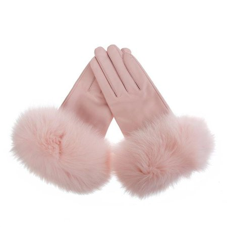 Baby Pink Leather Gloves with Fox Fur Trim – Popski London