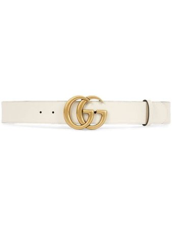 Gucci White Leather Belt With Double G Buckle | Farfetch.com