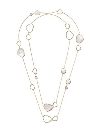 Chopard 18kt rose gold Happy Hearts mother-of-pearl and diamond sautoir necklace
