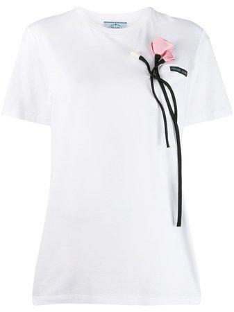 Prada Floral Applique T-Shirt | Farfetch.com
