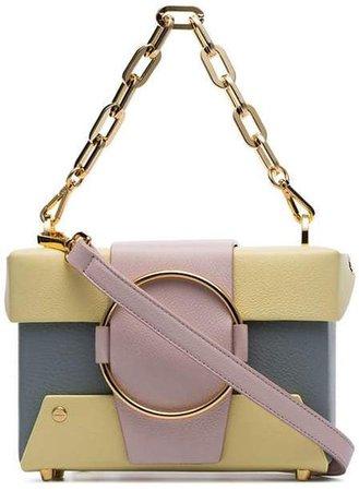 Yuzefi pastel blue and yellow Asher leather cross body box bag