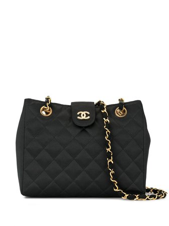 Chanel Pre-Owned 1985-1993'S Quilted Rhinestone Cc Chain Shoulder Bag Vintage | Farfetch.Com