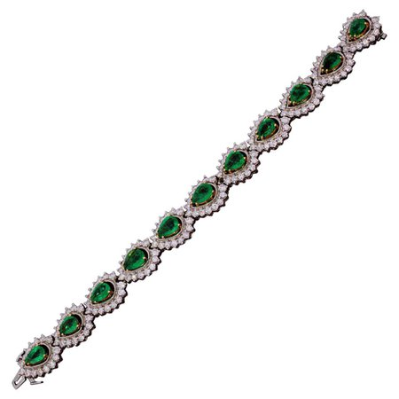 Vintage Emerald and Diamond Bracelet For Sale at 1stDibs