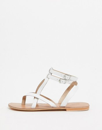 ASOS DESIGN Franca leather gladiator sandals in white | ASOS