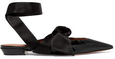 Kirk Satin-trimmed Patent-leather Point-toe Flats - Black