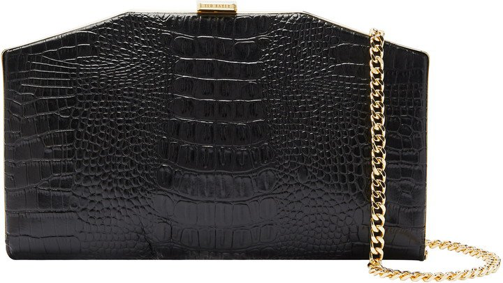 Unae Croc Embossed Leather Clutch