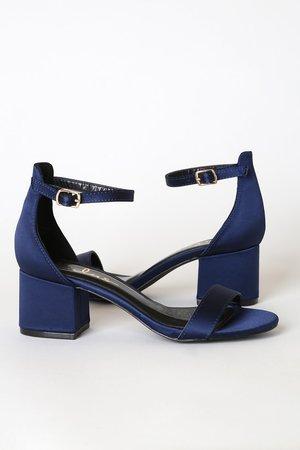 Navy Blue Satin Sandals - Single Sole Heels - Block Heel Sandals