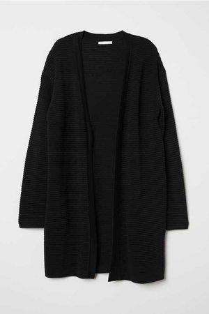Rib-knit Cardigan - Black - Ladies   H&M US