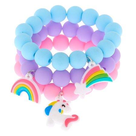 Claire's Club Rainbow Matte Beaded Stretch Bracelets