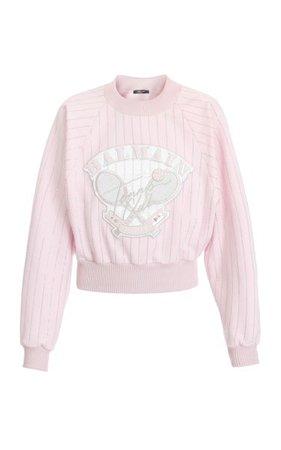 Cropped Embroidered Cotton Sweatshirt By Balmain   Moda Operandi